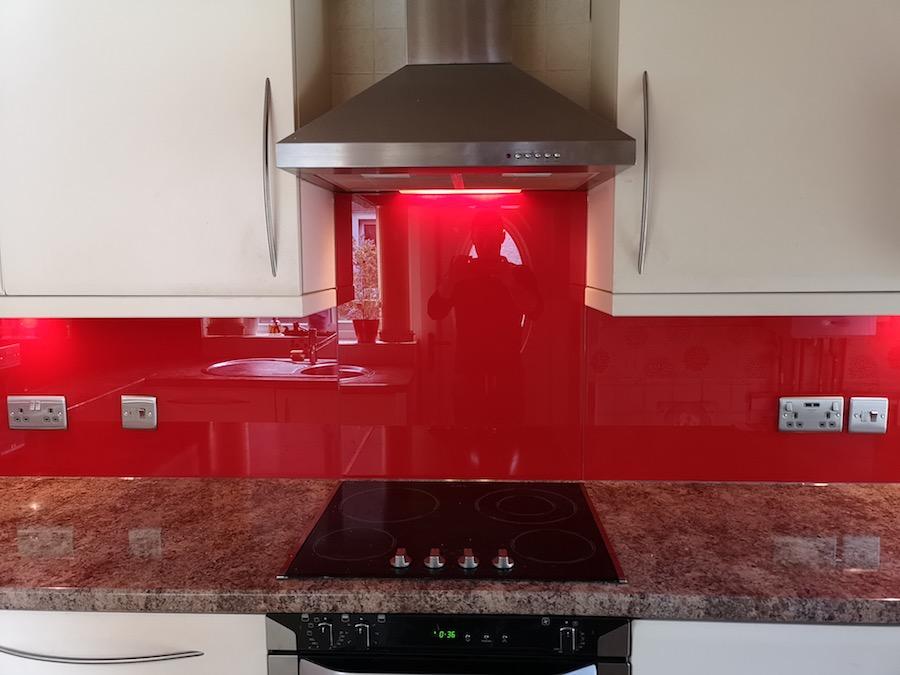red glass splash back